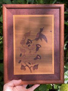 Vintage Inlaid Wood Art Marquetry Hummingbird Flowers Framed Wall Hanging Boho