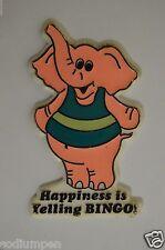 "WOW Funny Vintage 1986 Happiness Is Yelling BINGO 4"" Pink Elephant Magnet Lucky"