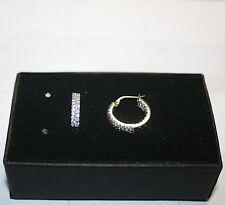 Diamond Alternatives Double Sm Hoop Huggie Earrings White 14k Gold over 925 SS