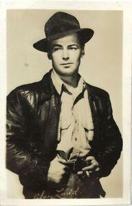 RPPC Alan Ladd Western Actor Movies Photo Portrait Hat Pose Vintage Postcard