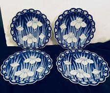 4 ORIENTAL BLUE & WHITE Iris design PLATES;artist stamped;porcelain;no blemishes