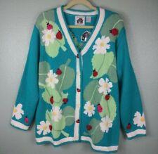 NEW HSN Storybook Knits Womens 1X Cardigan Sweater Flowers Ladybug Turquoise