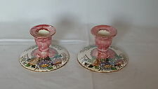 Maling Peony Rose design vintage Art Deco antique pair of candlesticks