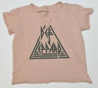 Woman's DEF LEPPARD Pink Shirt Short Sleeve Cotton Junior Size Small S