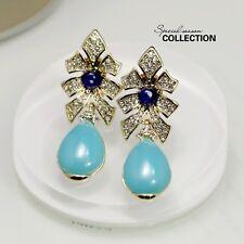 Boucles d'Oreilles Clip Pince NON Percée Bleu Cristal Goutte Fleur Pendante J2