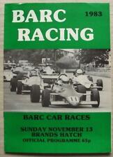 BRANDS HATCH 13 Nov 1983 BARC CAR RACES A4 Official Programme