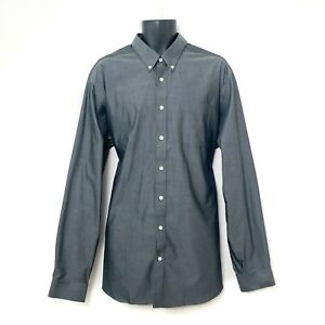 Eddie Bauer Mens LS Button Up Charcoal Dress Shirt Pkt Logo Meas as 2XLT NWOT