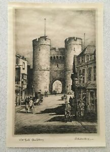 Mid 20th Century Lithograph - West Gate Canterbury by Adrian Hill - Signed