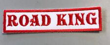 "Custom  Biker Vest Patch ROAD KING  4""X 1"" (RED ON WHITE)"