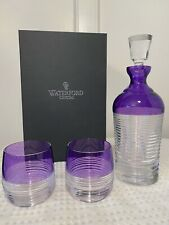 New in Box WATERFORD CRYSTAL Mixology Amethyst Circon Decanter & 2 Tumbler Set