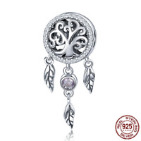 Fashion 925 Sterling Dream Catcher Holder Family Tree Beads fit Original Bangles