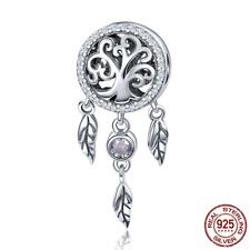 925 Sterling Silver Dream Catcher Holder Family Tree Beads fit Original Bracelet