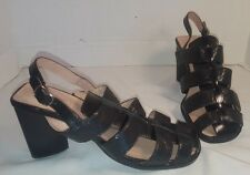 NEW JEFFREY CAMPBELL BLACK LEATHER MATERA SLINGBACK HEELS WOMANS US 8