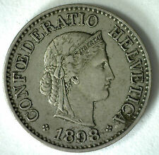 1898 Switzerland 10 Rappen Swiss Helvetia Copper Nickel 10 Cent Coin XF