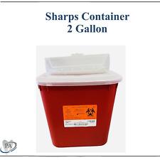 Sharps Container 2 Gallon Biohazard Needle Disposal Dental Tattoo 1 Pack