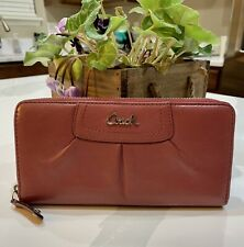 AUTH COACH Leather Rouge Rose Pink Zip-around Long Wallet