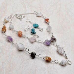 Multi Gemstone Gemstone Ethnic Handmade Jewelry Set 38 Gms VN-660