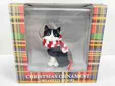 Sandicast Tuxedo American Shorthair Cat With Scarf Christmas Ornament - New!