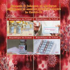 Chad Medical Stamps 2021 CTO Corona Vaccines Johnson & Johnson Moderna 4v M/S