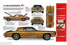 1972 STUTZ BLACKHAWK SPEC SHEET / Brochure / Catalog / Photo's