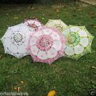 "Handmade Mid-Size Cotton & Lace Parasol Umbrella Wedding Decor DIAMETER 20.5"""