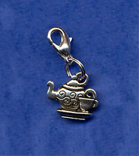 "BEAUTIFUL "" TEAPOT & TEA CUP "" DANGLE CLIP ON CHARM TIBETAN SILVER CLIP ON CHARM"