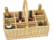 Twelve Bottle Carrier Wicker Basket Wine Milk Recycling Kitchen Beach Concert