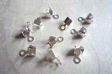 10 SIlver Plated Rhinestone Chain Connectors Crimps 5mm Size for 4mm Size Chain