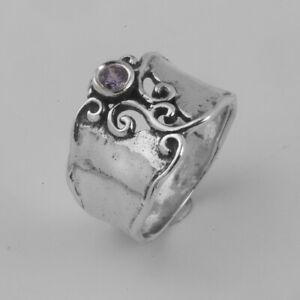 Fine Sterling Silver 925 Ring Statement Lilac Lavender CZ