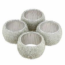 8 Silver Bead Napkin Rings Party Home Wedding Decor Xmas Table Serviette Dinner