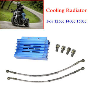 Motorcycle Engine Cooling Radiator Oil Pipe Cooler Kit Metal For 120cc To 160cc
