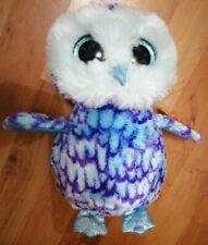TY Beanie Boo Owl Oscar~Glitter Eyes Plush Soft approx 24cm ~ B'day June 10 NWT