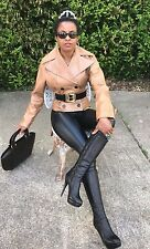 Designer Dolce & Gabbana Sable brown double breast buffalo Leather Coat jacket S