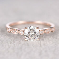 Rose Gold White Topaz 925 Silver Woman Jewelry Wedding Engagement Ring Sz 5-10