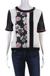 Elizabeth and James  Womens Floral Print Silk Blouse Cream Black Size Medium