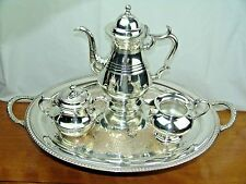 SILVER TEA SET ROGERS BUTLER TRAY PALETHORP & CONNELL COFFEE POT CREAMER SUGAR