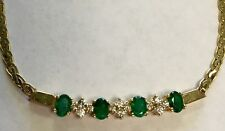 14K SOLID YELLOW GOLD GENUINE EMERALD AND DIAMOND NECKLACE 2 Carat VS Discounted