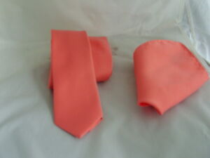 """Solid Coral-Salmon Mens Skinny Polyester Tie and Hankie Set -2.5"""" = 6cm Width"""