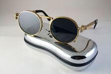 Hi Tek round gold metal spring temples Steampunk unusual sunglasses techno rockL
