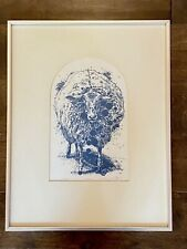 Robert Skelley BLUE SHEEP Woodcut Print 1969 Framed Vintage Art SIGNED NUMBERED