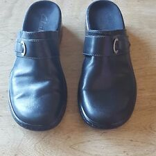 Clarks Womens Slip On Mules Black 71035 Size 6.5 M Leather Casual Buckle Detail