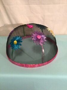 """Wire Mesh Screen Food Plate Tent Cover Embroidered  Flowers Bees"""" -14"""""""