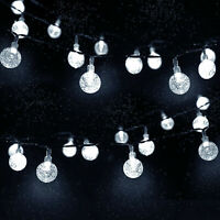 Outdoor 20ft 30 LED Solar String Ball Lights Waterproof White Garden Party Decor