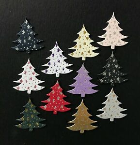 Die cut foiled small Christmas Tree card topper pk10