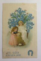 """""""Neujahr, Engel, Vergissmeinnicht, Sekt""""  1909, Prägekarte  ♥"""