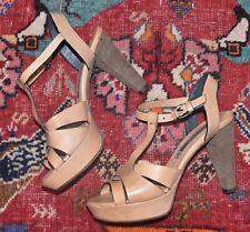 Alberto Fermani AF Tan Leather Sandal Platform Heels Size 36