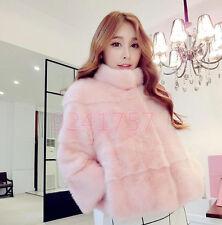 NEU Süß Damen Mantel Imitation Fuchspelz Slim Short Jacke Pink Gr:2XS-XL