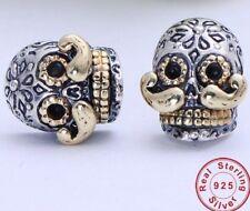Skull With Mustache Earrings Solid Sterling Silver Women Men Biker Gift