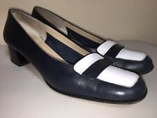 FERRAGAMO Navy Blue White Pumps Sz 6.5 4A AAAA Extra Narrow Low Heels Shoes