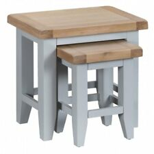 Grey Painted Nest Of Two Tables Country Style Chunky Oak Top TAUNTON COLLECTION